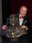 Mayor of Drogheda Frank Godfrey with a bust of himself created by Artist Yoram Drori at the Lord Mayor's show. Photo:Colin Bell/pressphotos.ie