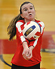 Emily Barry #16 of Sacred Heart Academy looks to set up a spike during a CHSAA varsity girls volleyball match against host St. John the Baptist High School in West Islip on Thursday, Oct. 12, 2017. Sacred Heart won the match 3-0.