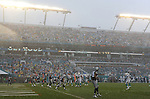 MIAMI GARDENS, FL - NOVEMBER 22:  A general view of heavy rain falling in the first quarter during the Dallas Cowboys against the Miami Dolphins NFL game on November 22, 2015 at Sun Life Stadium in Miami Gardens, Florida. (Photo by Donald Miralle)