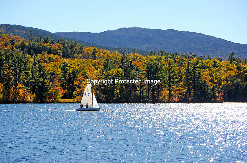 Enjoying an Afternoon of Sailing on Dublin Lake with View of Mount Monadnock in New Hampshire USA