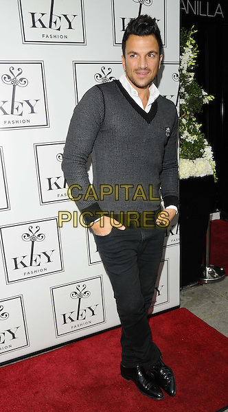 Peter Andre<br /> The KEY Fashion new online fashion boutique launch party, Vanilla, London, England.<br /> September 25th, 2013<br /> full length black jeans denim top sweater jumper hands in pockets <br /> CAP/CAN<br /> &copy;Can Nguyen/Capital Pictures