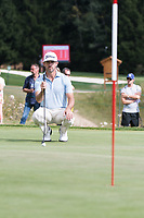 Wade Ormsby (AUS) lines up his putt on the 17th hole during third round at the Omega European Masters, Golf Club Crans-sur-Sierre, Crans-Montana, Valais, Switzerland. 31/08/19.<br /> Picture Stefano DiMaria / Golffile.ie<br /> <br /> All photo usage must carry mandatory copyright credit (© Golffile | Stefano DiMaria)