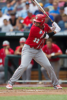 North Carolina State first baseman Tarran Senay (32) at bat during Game 3 of the 2013 Men's College World Series between the North Carolina State Wolfpack and North Carolina Tar Heels at TD Ameritrade Park on June 16, 2013 in Omaha, Nebraska. The Wolfpack defeated the Tar Heels 8-1. (Andrew Woolley/Four Seam Images)