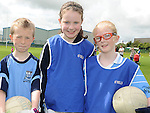 Ryan Dunne, Roisín Crowe and Eimear Clarke who took part in the Kick to Croker event at Newtown Blues GAA club. Photo: Colin Bell/pressphotos.ie