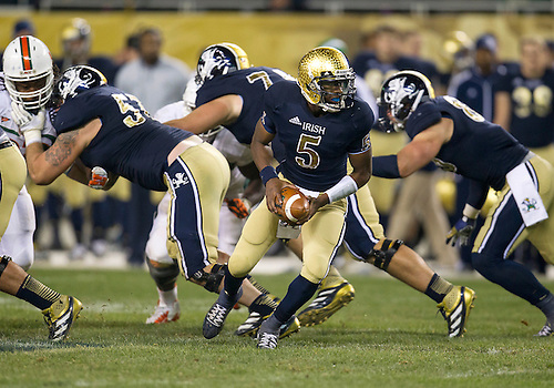 October 06, 2012:  Notre Dame quarterback Everett Golson (5) during NCAA Football game action between the Notre Dame Fighting Irish and the Miami Hurricanes at Soldier Field in Chicago, Illinois.  Notre Dame defeated Miami 41-3.
