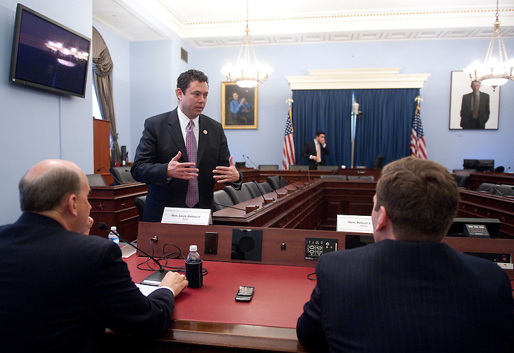 UNITED STATES  MARCH 8: Rep. Jason Chaffetz, R-Utah, center, speaks with Rep. Louie Gohmert, R-Texas, left, and Rep. Robert Dold, R-Ill., before the start of the House Budget Committee's hearing on the FY2013 budget on Thursday, March 8, 2012. Members testified during the hearing about budget needs for their districts and states. (Photo By Bill Clark/CQ Roll Call)