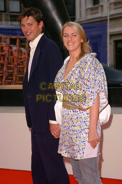 HARRY LOPES & LAURA PARKER BOWLES.The 2006 Summer Exhibition Preview Party at the Royal Academy in Piccadilly, London, UK..June 7th, 2006 .Ref: CAV.half length blue suit floral print top gold belt married couple husband wife .www.capitalpictures.com.sales@capitalpictures.com.© Capital Pictures.