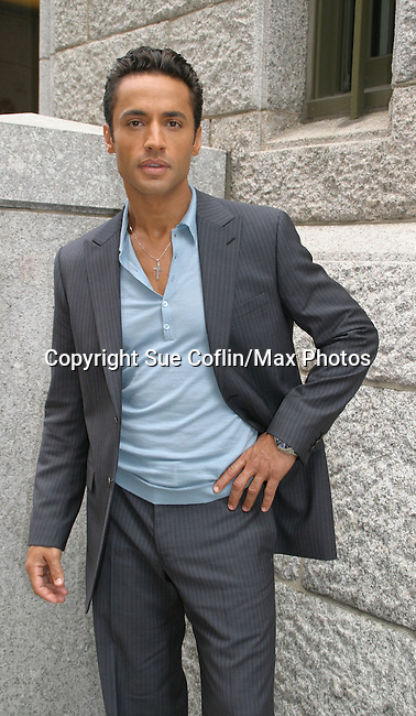 "One Life To Live's Kamar de los Reyes ""Antonio Vega"" takes a break outside the OLTL studio on 9-21-06. (Photo by Sue Coflin/Max Photos)"