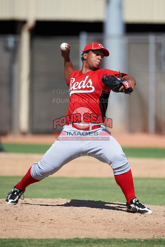 Cincinnati Reds minor league pitcher Pedro Diaz #75 during an instructional league game against the Milwaukee Brewers at Maryvale Baseball Park on October 3, 2012 in Phoenix, Arizona.  (Mike Janes/Four Seam Images)