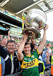 James O'Donoghue and his dad Diarmuid celebrate Kerry's victory over Donegal in Croke Park on Sunday.<br /> Picture by Don MacMonagle