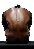 Muscular male back.