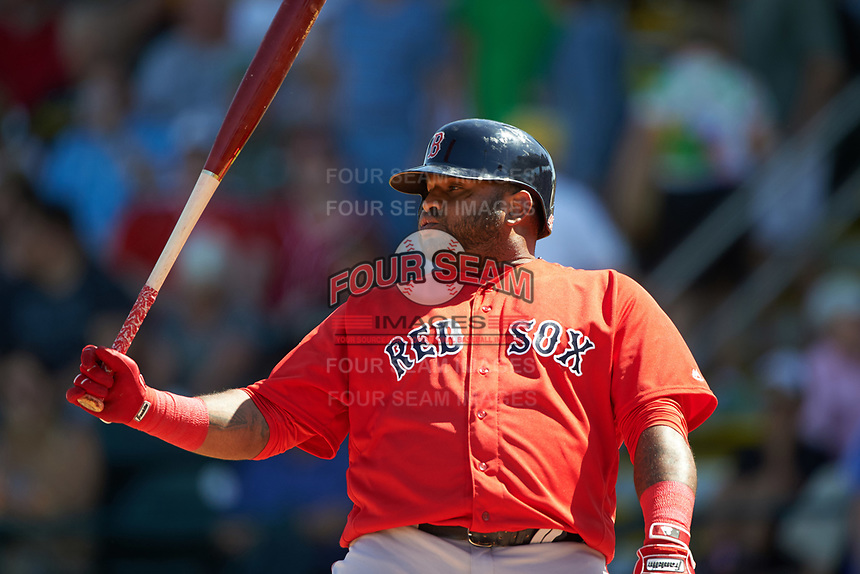 Boston Red Sox third baseman Pablo Sandoval (48) at bat during a Spring Training game against the Pittsburgh Pirates on March 9, 2016 at McKechnie Field in Bradenton, Florida.  Boston defeated Pittsburgh 6-2.  (Mike Janes/Four Seam Images)