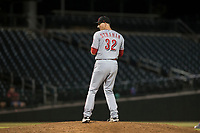 Scottsdale Scorpions relief pitcher Wyatt Strahan (32), of the Cincinnati Reds organization, gets ready to deliver a pitch during an Arizona Fall League game against the Mesa Solar Sox at Sloan Park on October 10, 2018 in Mesa, Arizona. Scottsdale defeated Mesa 10-3. (Zachary Lucy/Four Seam Images)