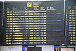Electronic international flight departures information, airport terminal two Lanzarote, Canary islands, Spain