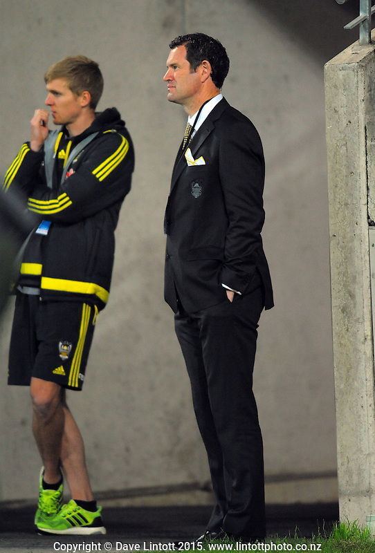 Phoenix general manager David Dome (right) watches the A-League football match between Wellington Phoenix and Adelaide United at Westpac Stadium, Wellington, New Zealand on Friday, 13 November 2015. Photo: Dave Lintott / lintottphoto.co.nz