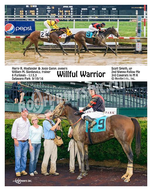 Willful Warrior winning at Delaware Park on 9/19/16