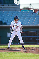 Lancaster JetHawks right fielder Casey Golden (11) during a California League game against the Lake Elsinore Storm on April 10, 2019 at The Hangar in Lancaster, California. Lake Elsinore defeated Lancaster 10-0 in the first game of a doubleheader. (Zachary Lucy/Four Seam Images)