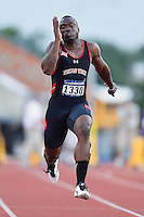 Trevor Mackey of Texas Tech competes in 100 meter prelims during West Preliminary Track and Field Championships, Friday, May 29, 2015 in Austin, Tex. (Mo Khursheed/TFV Media via AP Images)