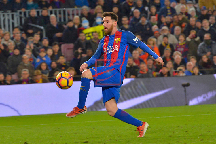 League Santander 2016/2017. Game: 16.<br /> FC Barcelona vs RCD Espanyol: 4-1.<br /> Lionel Messi.