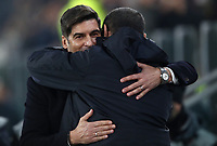 Calcio, Coppa Italia round 8 : Juventus - AS Roma, Turin, Allianz Stadium, January 22, 2020.<br /> Juventus' coach Maurizio Sarri (r) greets Roma's coach Paulo Fonseca (l) prior to the Italian Cup football match between Juventus and Roma at the Allianz stadium in Turin, January 22, 2020.<br /> UPDATE IMAGES PRESS/Isabella Bonotto