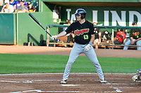 Zach Fisher (13) of the Great Falls Voyagers at bat against the Ogden Raptors in Pioneer League action at Lindquist Field on July 18, 2014 in Ogden, Utah.  (Stephen Smith/Four Seam Images)
