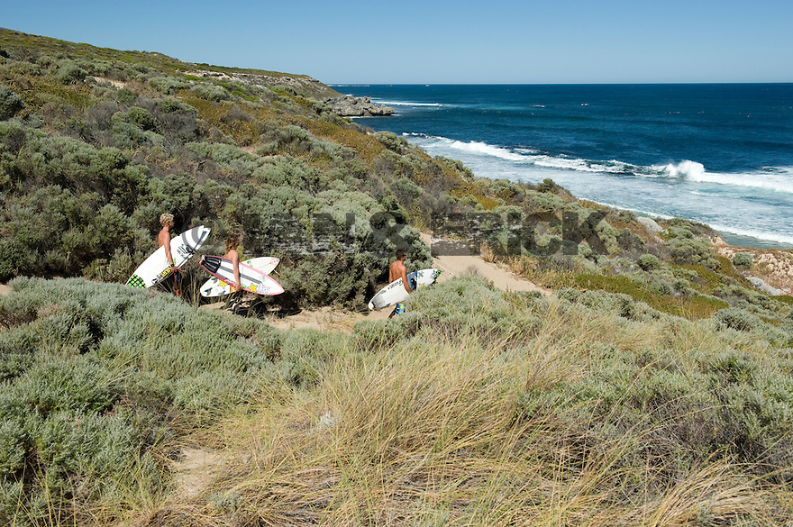 Matt Meola, Albee Layer and John Florence at Gallows in Injidup in Western Australia.