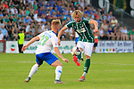 28.08.2019, Stadion Lohmühle, Luebeck, GER,  VFB Lübeck/Luebeck vs VfL Wolfsburg IIi<br /> <br /> DFB REGULATIONS PROHIBIT ANY USE OF PHOTOGRAPHS AS IMAGE SEQUENCES AND/OR QUASI-VIDEO.<br /> <br /> im Bild / picture shows<br /> Dominik Marx VfL Wolfsburg II im Zweikampf gegen Marcel Schelle (VfB Luebeck)<br /> <br /> Foto © nordphoto / Tauchnitz