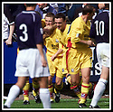 05/08/2001          Collect Pic : James Stewart .Ref : 673N9220                          .File Name : stewart07-falkirk v ayr utd.JAMES BRADY IS CONGRATULATED BY TEAM MATES AFTER SCORING AYR'S FIRST.....James Stewart Photo Agency, Stewart House, Stewart Road, Falkirk. FK2 7AS      Vat Reg No. 607 6932 25.Office : +44 (0)1324 630007     Mobile : + 44 (0)7721 416997.Fax     :  +44 (0)1324 630007.E-mail : jim@jspa.co.uk.If you require further information then contact Jim Stewart on any of the numbers above.........