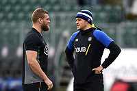 Brad Shields of Wasps and Zach Mercer of Bath Rugby have a chat prior to the match. Heineken Champions Cup match, between Bath Rugby and Wasps on January 12, 2019 at the Recreation Ground in Bath, England. Photo by: Patrick Khachfe / Onside Images