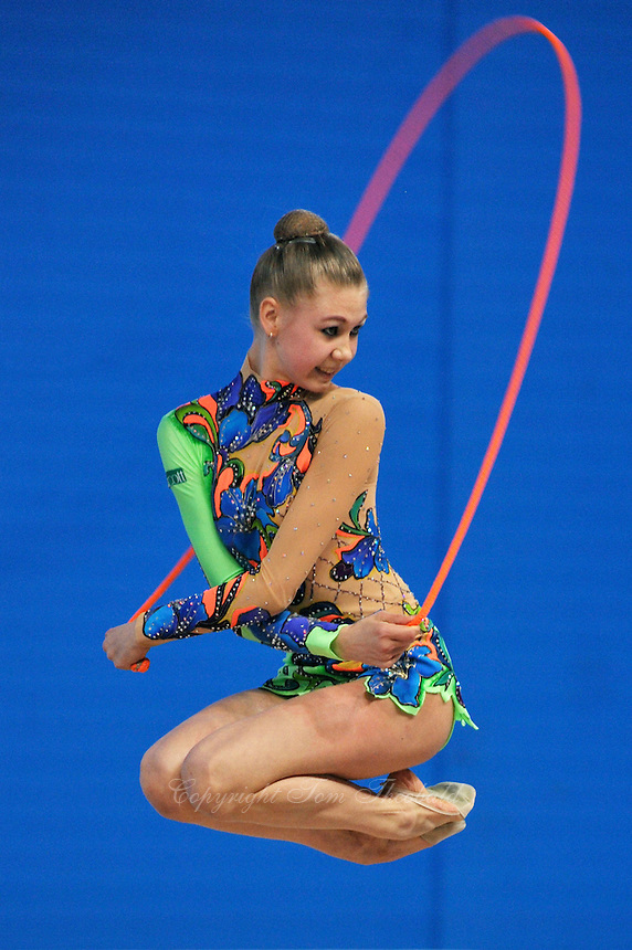 Hanna Rabtsava (junior) of Belarus performs jump with rope at 2009 Pesaro World Cup on May 2, 2009 at Pesaro, Italy.  Photo by Tom Theobald.