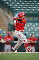 Philadelphia Phillies Rafael Marchan (6) follows through on a swing during a Florida Instructional League game against the Baltimore Orioles on October 4, 2018 at Ed Smith Stadium in Sarasota, Florida.  (Mike Janes/Four Seam Images)