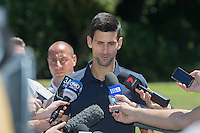 February 1, 2016: Novak Djokovic of Serbia speaks to the medai during the Men's Champion Photocall  at Government House, Melbourne, Australia. Photo Sydney Low