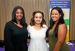 WATERBURY, CT-060317JS08-  Scholarship recipients, from left, Kala Hamilton (Holy Cross); Jatorra Jackson (Sacred Heart) and Jenai Monet Frenette (Waterbury Career Academy), at the annual Greater Waterbury Chapter of the National Congress of Black Women, Inc.'s Hat and Tea Scholarship Luncheon Saturday at the Mt. Olive A.M.E. Zion Church in Waterbury.  <br /> Jim Shannon Republican-American