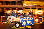 Sutter Creek FFA float in Sutter Creek's annual Parade of Lights Christmas parade downtown on a rainy night in the  Mother Lode of Calif.