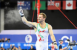 Wales' Clinton Purnell during his routine on the horizontal bar in the WAG individual qualification and team final<br /> <br /> Photographer Chris Vaughan/SPORTINGWALES<br /> <br /> 20th Commonwealth Games - Day 6 - Tuesday 29th July 2014 - Gymnastics Artistic - The SSE Hydro - Glasgow - UK
