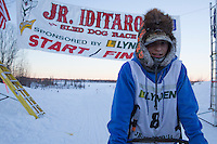 Kevin Harper portrait at the finish line of the 2014 Jr. Iditarod Sled Dog Race at Happy Trails Kennel, Big Lake, Alaska<br /> Sunday February 23, 2014 <br /> <br /> Junior Iditarod Sled Dog Race 2014<br /> PHOTO BY JEFF SCHULTZ/IDITARODPHOTOS.COM  USE ONLY WITH PERMISSION