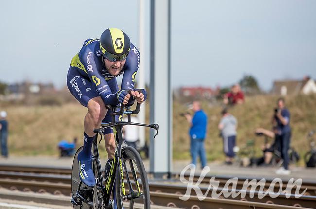 Stage winner Luke Durbridge (AUS/Orica Scott) during his winning run<br /> <br /> 3 Days of De Panne 2017<br /> afternoon stage 3b: ITT De Panne-De Panne (14,2km)