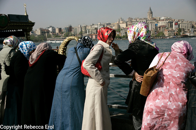 Turkish women in headscarves in Eminonu, Istanbul, Turkey