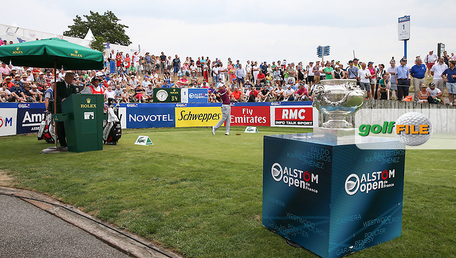 James Morrison (ENG) on the first tee during the Final Round of the 2015 Alstom Open de France, played at Le Golf National, Saint-Quentin-En-Yvelines, Paris, France. /05/07/2015/. Picture: Golffile | David Lloyd<br /> <br /> All photos usage must carry mandatory copyright credit (&copy; Golffile | David Lloyd)