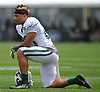 Jalin Marshall #89 watches a play during New York Jets Training Camp at the Atlantic Health Jets Training Center in Florham Park, NJ on Tuesday, Aug. 8, 2017.