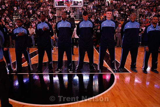 San Antonio - Jazz players lineup for the national anthem before the game. Utah Jazz vs. San Antonio Spurs, NBA basketball, Western Conference Finals Game One..5.20.2007
