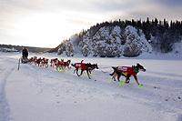 Saturday March 10, 2012  Ed Stielstra travels along the Yukon River after leaving the Ruby checkpoint. He is heading toward Galena the next checkpoint along the trail. Iditarod 2012.
