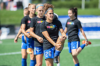 Boston, MA - Saturday June 24, 2017: Angela Salem and the Boston Breakers during warmups before a regular season National Women's Soccer League (NWSL) match between the Boston Breakers and the North Carolina Courage at Jordan Field.