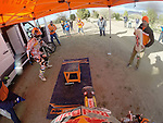 BAJA CALIFORNIA, MEXICO - NOVEMBER 15:  Ivan Ramirez of of the FMF/Bonanza Plumbing KTM team comes into pit as teammate Kurt Casselli prepares to get on bike during the 2013 SCORE Baja 1000 on November 15, 2013 in Baja California, Mexico. (Photo by Donald Miralle for ESPN the Magazine) *** Local Caption ***Ivan Ramirez;Kurt Casselli
