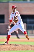 Greenville Reds starting pitcher Tyler Garbee (29) delivers a pitch during a game against the Burlington Royals at Pioneer Park on August 11, 2019 in Greeneville, Tennessee. The Royals defeated the Reds 8-1. (Tony Farlow/Four Seam Images)