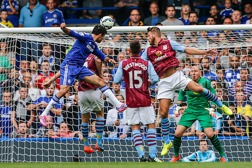 27.09.2014.  London, England. Barclays Premier League. Chelsea versus Aston Villa from Stamford Bridge. Diego Costa of Chelsea heads goalwards.