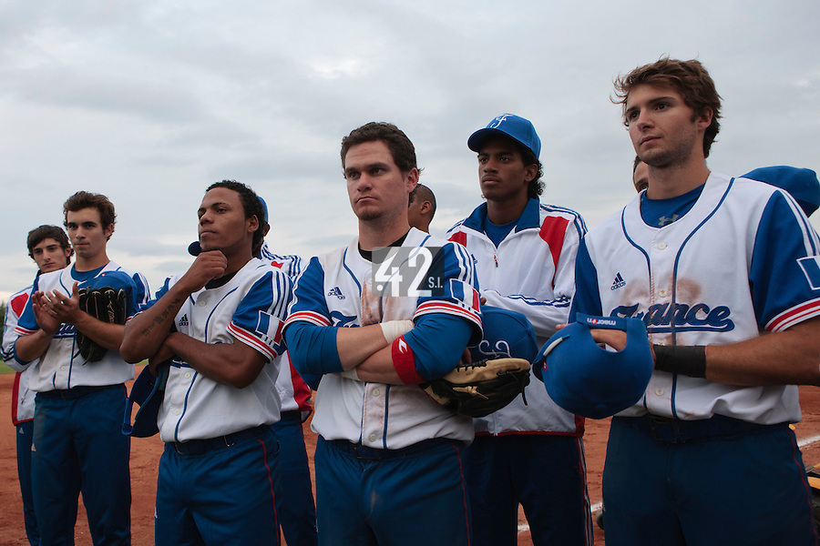 18 August 2010: Eloi Secleppe, Andy Pitcher, Gary Garcia Martinez, Jorge Hereaud, David Van Heyningen, Jonathan Dechelle are seen after  the France 7-3 win over Ukraine, at the 2010 European Championship, under 21, in Brno, Czech Republic.