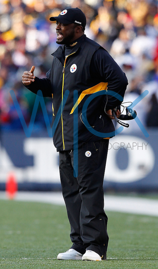 ORCHARD PARK, NY - NOVEMBER 28:  Head coach Mike Tomlin of the Pittsburgh Steelers talks with referees during the game against the Buffalo Bills on November 28, 2010 at Ralph Wilson Stadium in Orchard Park, New York.  (Photo by Jared Wickerham/Getty Images)