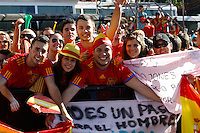 02.07.2012 SPAIN Celebration party. Champion of Euro 2012. Spain entered the legend by winning two consecutive European Championships and a World Cup. The fans are waiting at the door of City Hall to celebrate