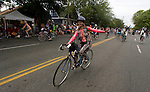 A painted biker leads the pack during the 21st Annual Fremont Summer Solstice Parade in Seattle on June 20, 2009. The parade was held Saturday, bringing out painted and naked bicyclists, bands, belly dancers and floats. (Jim Bryant Photo © 2009)